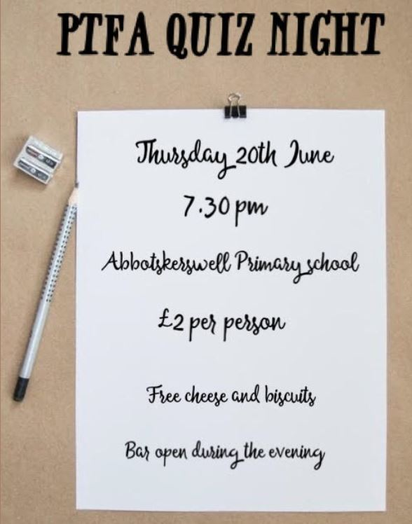 PTFA Quiz Night poster